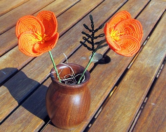 California Poppy - French Beaded Flower