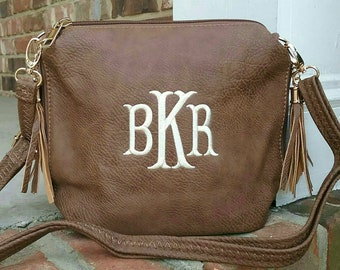 86b6240ebe6d Personalized Monogrammed Vegan Leather Crossbody Purse with Tassel and FREE  Monogram Tobacco Monogram Purse