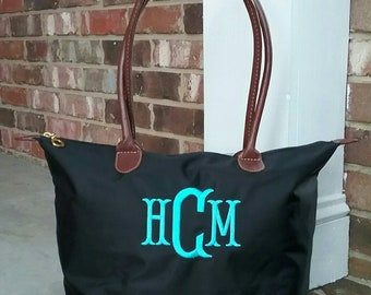 ccdaebeabf Personalized Monogrammed Small Nylon Champ Tote Bag with Handles FREE  Monogram Multiple Colors Bridesmaid or Wedding Party Gift