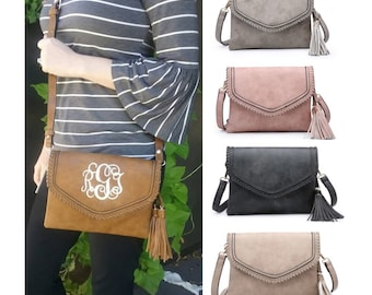 6955f1d1755d Personalized Monogrammed Vegan Leather Whipstitch Envelope Crossbody Purse  with Tassel and FREE Monogram