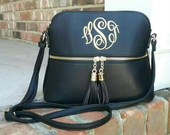 Personalized Monogrammed Vegan Leather Crossbody Purse with Tassel FREE Monogram  Black Monogram Purse - Gift for Her  52c926fec3a3a
