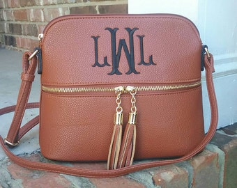 Personalized Monogrammed Vegan Leather Crossbody Purse with Tassel FREE  Monogram Brown Monogram Purse - Gift for Her  f49f081812fb0