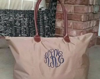 0dc4cdc044 Personalized Monogrammed Medium Nylon Champ Tote Bag with Handles - FREE  Monogram - Khaki - Bridesmaid or Wedding Party Gift