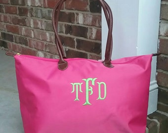 58a6810ed9 Personalized Monogrammed Medium Nylon Champ Tote Bag with Handles - FREE  Monogram - Hot Pink - Bridesmaid or Wedding Party Gift