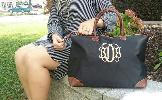 c603cb98a2 Personalized Black Monogrammed Weekender or Overnight Nylon