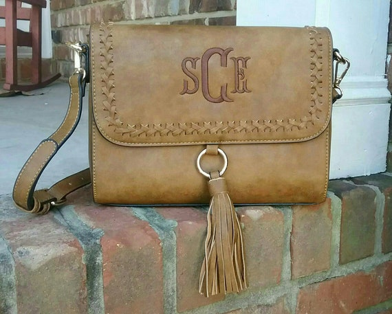 Personalized Monogrammed Vegan Leather Whipstitch Flapover  fc5c2fcc5a9cd