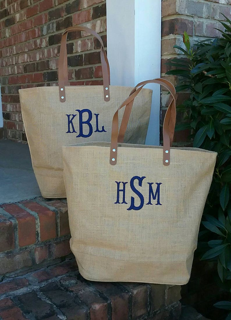 68a17dbda Set of 9 Personalized Monogrammed Large Jute Tote Bag with | Etsy