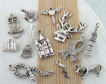 12 HARRY POTTER Theme Charms -Each One Different- Antique Silver -Charm Collection- Spectacles, Witch Hat, Broom, Lightning Bolt, Owl, Book