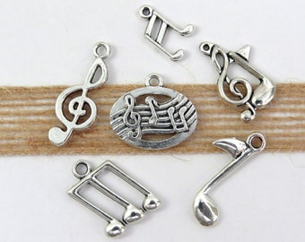 Music Themed Charms Music Notes Harp Piano Violin Jewelry Earrings 6 piece