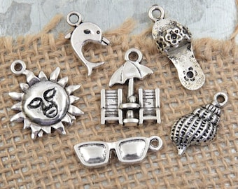 6 By the Sea BEACH Themed Charm Collection -Assorted Styles, Sunglasses, Beach Chairs & Umbrella, Sun, Flip Flop, Dolphin, Conch Shell