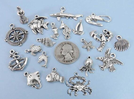 Tibetan Silver Charm Pendant Mermaid//Fish//Starfish//Turtle//Shark Sea Theme Charms