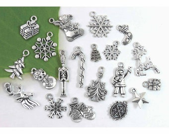 20 Christmas Charms,  Antique Silver Charm Collection, No Duplicates!