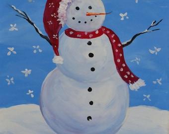 SNOWY MAN 16 x 20 Acrylic on canvas