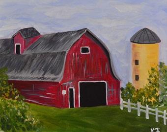RED BARN-16 x 20 Acrylic on Canvas