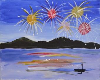 MISSOURI RIVER-Fourth of July, 16 x 20 Acrylic on canvas