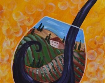 TUSCANY WINE-16 x 20 Acrylic on canvas
