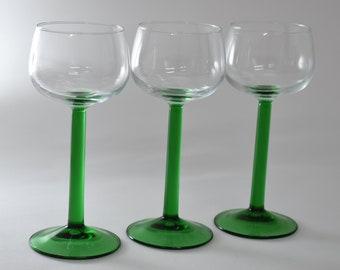 Green Stemware, Small  Bright Green Glass, French Barware, Cordial Glasses, Vintage Glasses, Set of 3, Retro Barware, Colored Glassware