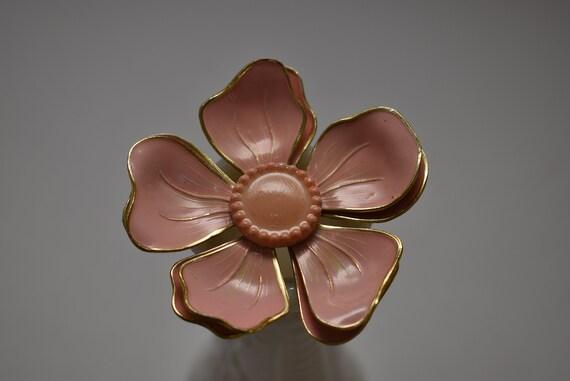Pink Flower Pin, Mid Century Flower Brooch, 1960's