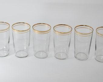 Gold Rim Glassware, Vintage Drinking Glasses, Glassware Vintage,Juice Glasses, Bar Cart Drinkware, Gold Stemware, Patterned Glass Set