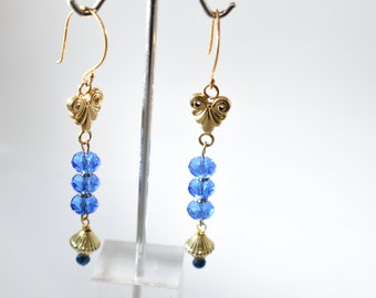 Blue Bead Earrings, Gold Drop Earrings Gifts, Blue Crystal Dangles, Unique Earrings For Women, Long Earrings Blue, Vintage Style Earrings
