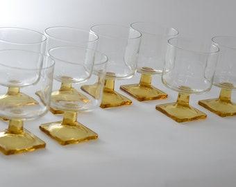 Amber Juice Glasses, Vintage Glassware, Drink Barware, Retro Cocktail Glasses, Square Bottom Glassware,Farmhouse Kitchen, Iced Tea Glasses