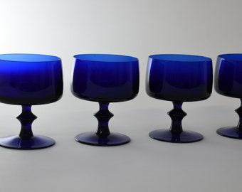 Cobalt Blue Glasses, Set of 4 Cocktail Glasses,Blue Barware, Cobalt Goblets,Fancy Stemware Vintage, Wedding Glassware, Blue Water Glasses