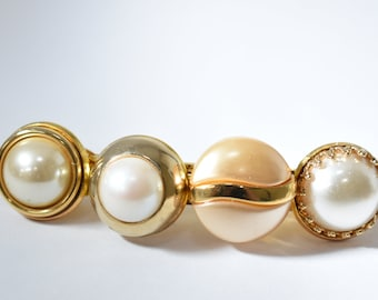 Faux Pearl Barrette, Costume Jewelry, Upcycled Hair Accessories, Wedding Hair Piece, Gold Barrette, Vintage Long Statement Hair Barrette