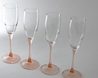 Pink Stem Champagne Flutes,Pink Stem Toasting Glasses, Vintage Barware, Toasting Glasses,Set of 4 Champagne Glasses,Fancy Glassware
