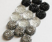 100 pcs of 10mm Faceted Round Cut Flatback Bead in Clear, Black, Metallic Gray for scrapbooking, clothing, Jewelry, Accessory