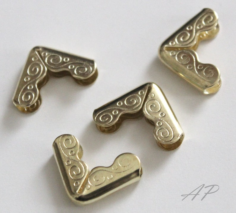 Metal Book Corner Collar Corner for DIY Book Binding Craft Tool in Gold Vintage Style 20pc