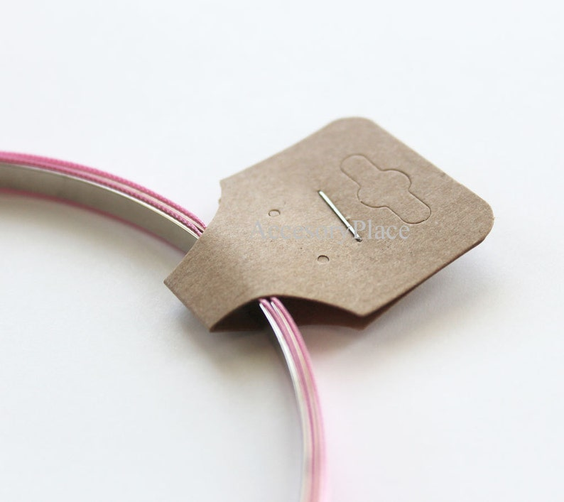 200 pcs Blank Hanging Necklace Ponytail  Display Card in Brown Kraft Paper for Accessories and Jewelry