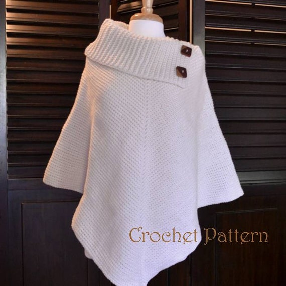 Crochet Poncho Pattern Cowl Neck Poncho Womens Poncho CROCHET PATTERN Automatic Download Delectable Crochet Poncho Pattern