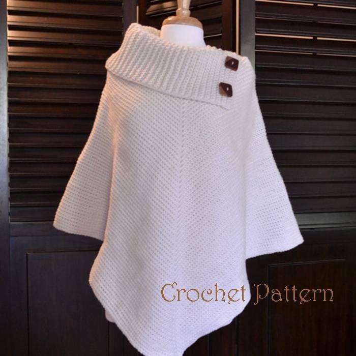 Crochet Poncho Pattern Cowl Neck Poncho Womens Poncho Etsy
