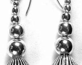 Long Sterling Silver Dangle Beaded Earrings