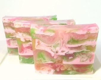 Apple Rose Soap,  Fruit Soap, Floral Soap, Apple Soap, Rose Soap, Valentines Day Soap, Hostess Gift, Shea Butter Soap, Glycerin Soap