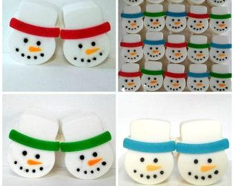 Snowman Soap,  Bulk Set - Box of 6 Soaps, Christmas Soap, Holiday Soap, Teacher Gifts, Party Favors, Kids Soap, Stocking Stuffer Soap