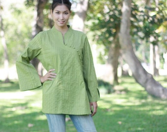 SALE 40% OFF--B111--- Have a nice day (Cotton blouse with pleats)
