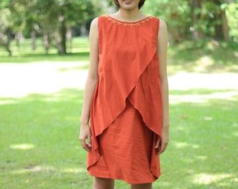 SALE 50% OFF-----D049-- Cotton dress with cute flower necklace