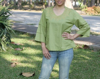 SALE 40% OFF--B230---Nice blouse with embroidery
