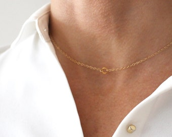 Delicate Gold Choker necklace - fine gold chain - short layering necklace