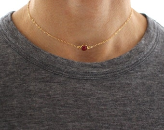 Red Ruby Choker necklace - delicate short gold layering necklace