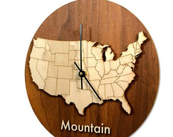Wood Time Zone Wall Clock - Set of 4