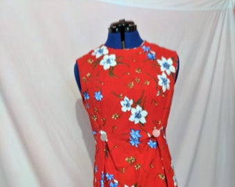 womens dress, wntage style dress, vintage fabric,red dres,red floral dress,dress with flowers,sleevless womens dress,cotton dress,sundress