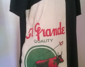 womens dress, flour sack dress, vintage flour sack, black dress, knit dress, tunic style dress, short dress , ladies dress, ready to ship