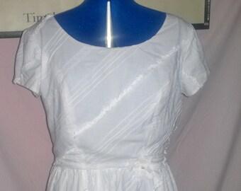 womens dress,white cotton dress, retro style dress  classic white eylet cotton dress,  , ladies dress ,womens dress, ready to ship