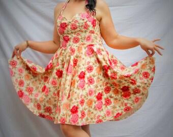 womens dress, summer dress, vintage style summer dress, cotton dress, party dress, flowers dress, halter style dress , sun dress, ship today