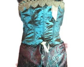 Plus size Lingerie corset and boy shorts, aquamarine corset, brown and aquamaine paisley boy shorts , wintage style corset