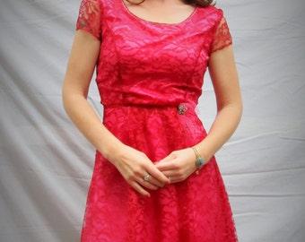 womens  Dress ,pink dresss,Vintage Dress Retro Dress, Handmade Retro lace style, Designer Custom, Bridesmaid  , pink dress, cocktail dress,
