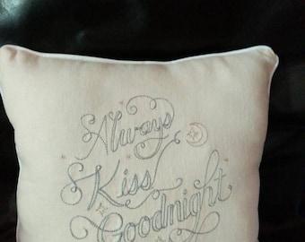 wedding pillow,wedding gift, wedding present,embroiderd pillow, always kiss goodnight pillow, custom wedding gift, custom made pillow,home