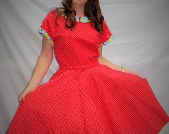 Women's dress,Vintage style dress,Red dress,1950 style dress, women's red vintage dress, handmade dress, I love Lucy dress, ready to ship